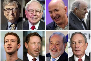 Bill Gates, Warren Buffett, Jeff Bezos, Amancio Ortega, Mark Zuckerberg, Larry Ellison, Carlos Slim a Michael Bloomberg