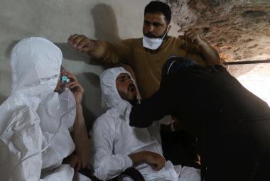 Následky údajného chemického útoku v provincii Idlib