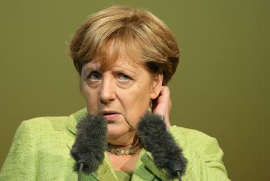 Angela Merkelová na mítinku ve Finsterwalde