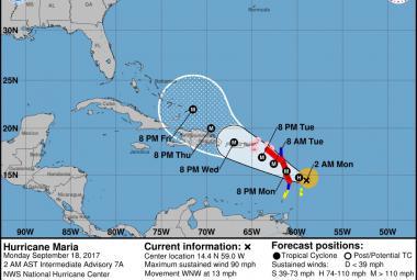 Předpověď vývoje hurikánu Maria