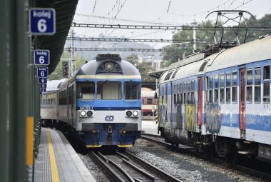 Vlaky na hlavním nádraží v Brně