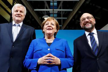 Horst Seehofer, Angela Merkelová a Martin Schulz