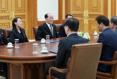 Jihokorejský prezident Mun Če-in přijal v paláci Kim Jo-čong