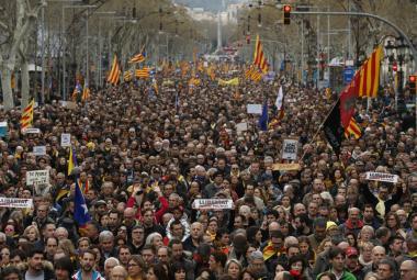 Masové protesty v Barceloně