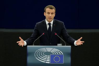 Macron při projevu v Evropském parlamentu