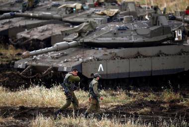 Izraelští vojáci v Golanských výšinách