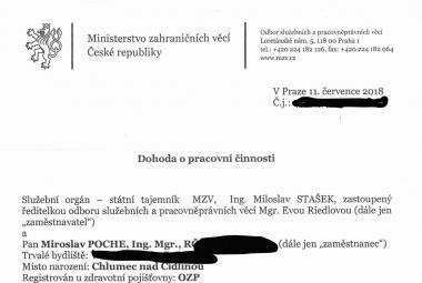 Smlouva Miroslava Pocheho s MZV