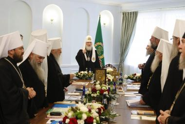 Patriarcha Kirill hovoří během synodu v Minsku