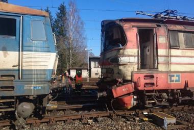 Střet nákladního vlaku s posunovací lokomotivou v Havlíčkově Brodu