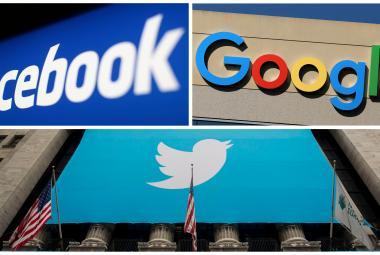 Loga společností Facebook, Google a Twitter