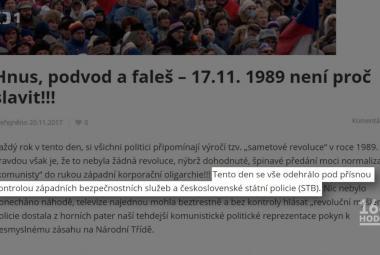Listopad připravila KGB s StB, Havel byl v KSČ. Dezinformace o revoluci nejsou žádný samet