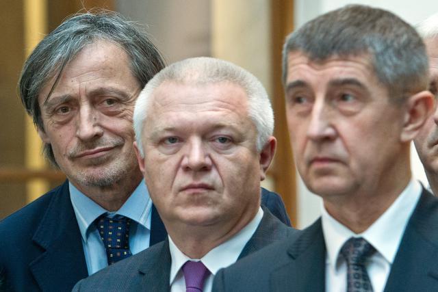 Zástupci hnutí ANO: Martin Stropnický, Jaroslav Faltýnek, Andrej Babiš (zleva)
