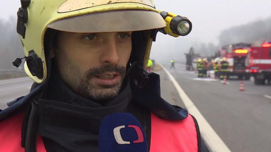 Video O nehodě dvou kamionů hovoří mlučí hasičů Jaroslav Mikoška