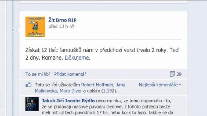 Video Události, komentáře: P. Žára a S. Bartík o facebooku Žít Brno
