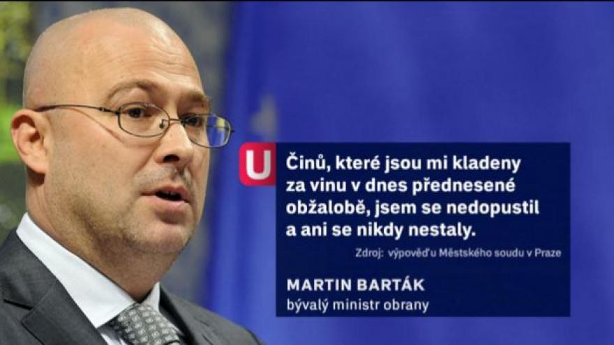 Video Barták se cítí nevinen, žalobce to nepřekvapuje