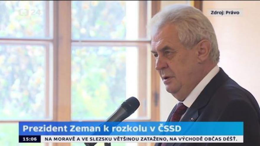 Video Prezident Zeman k rozkolu v ČSSD pro Právo