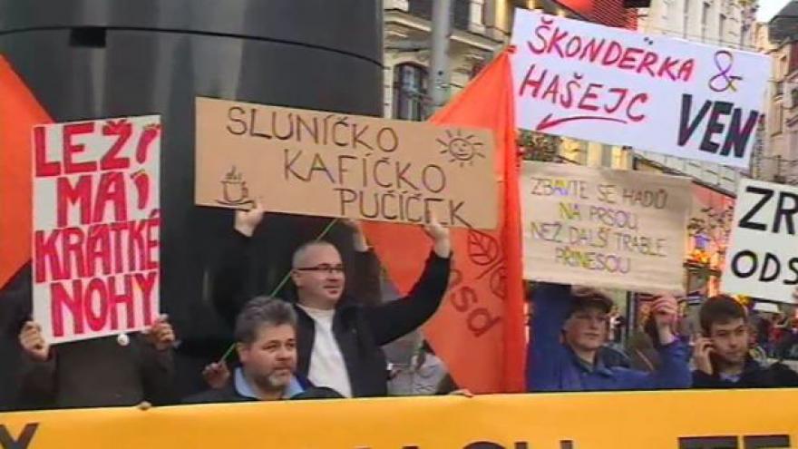 Video NO COMMENT: Demonstrace na podporu Bohuslava Sobotky