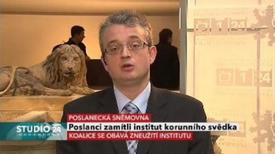 Video Studio ČT24 o institutu korunního svědka ve Sněmovně