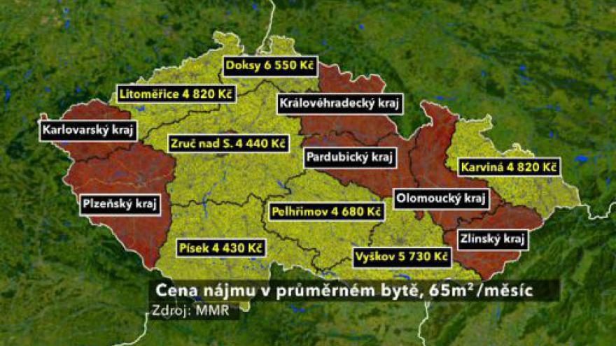 Video Mapy nájemného tématem Ekonomiky ČT24
