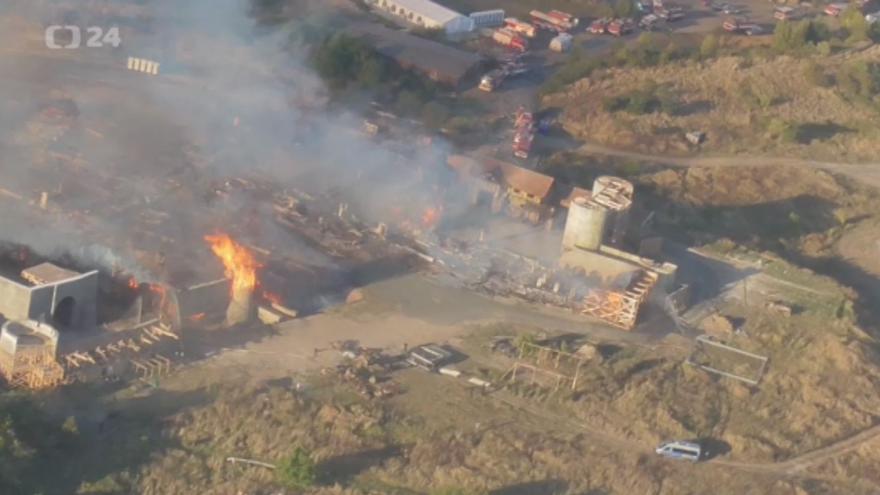 Video Požár Barrandov, letecké záběry