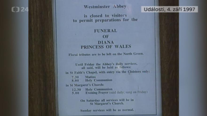 Video Události z 4. září 1997 k úmrtí princezny Diany