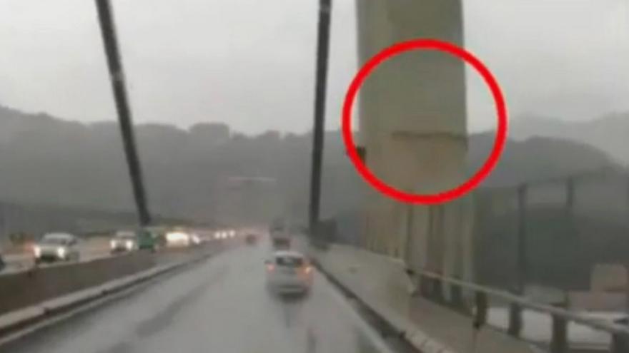 Video Viditelná prasklina na pilíři Morandiho mostu v Janově