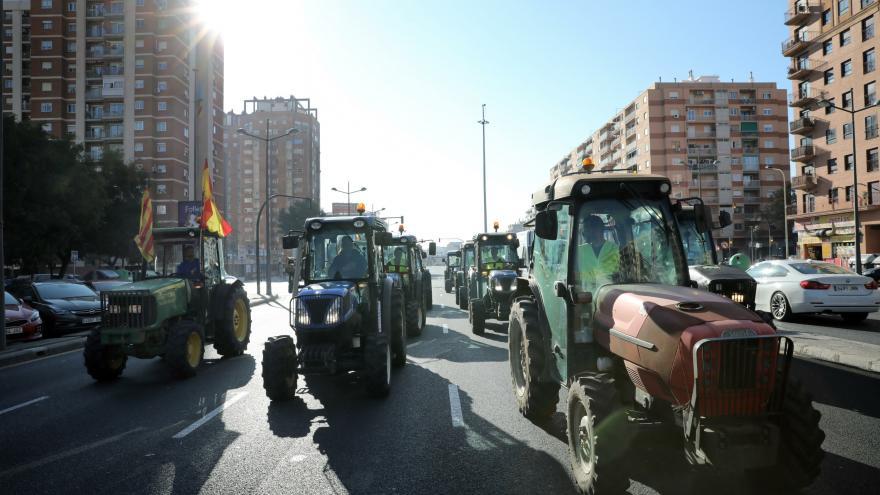 Video Farmáři napříč Španělskem protestují. Kvůli krizi v zemědělství vyjeli do ulic Valencie