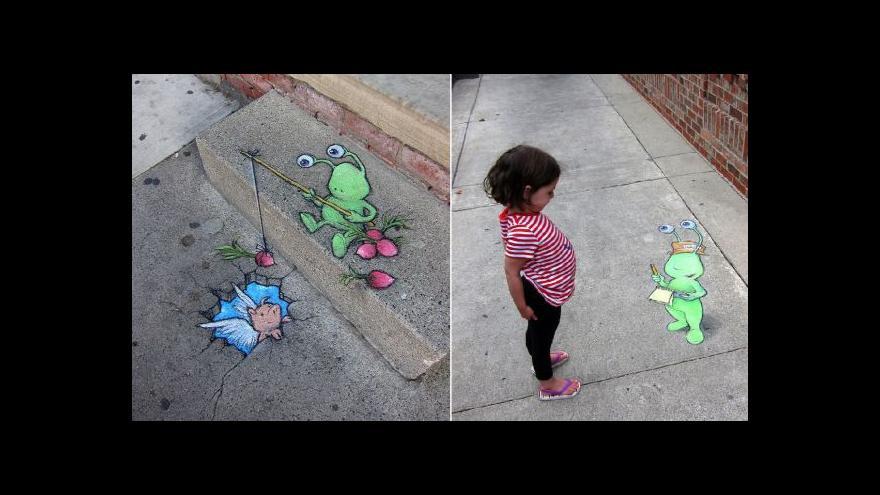 Video Streetartový umělec David Zinn chce hlavně pobavit