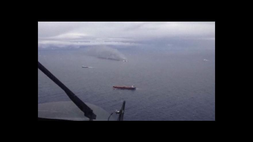 Video Hořící trajekt: Letecké záběry