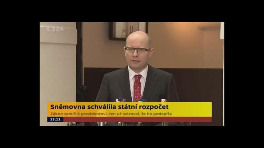 Video Sobotka ke státnímu rozpočtu