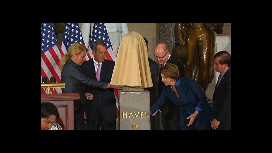 Video Horizont ČT24 k odhalení Havlovy busty