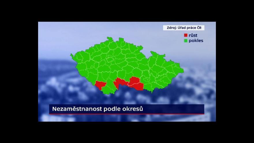 Video Nezaměstnanost na většině území ČR dál klesá