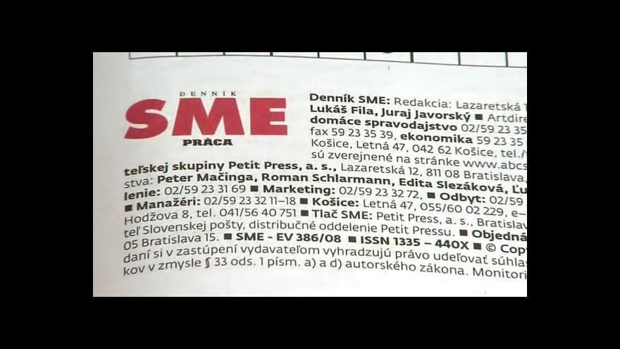 Video Největší nezávislé noviny na Slovensku se otřásly v základech