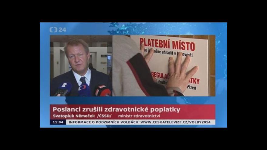 Video Svatopluk Němeček: Poslanci zrušili zdravotnické poplatky