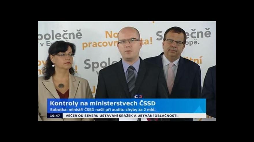 Video Brífink ke kontrolám na ministerstvech ČSSD