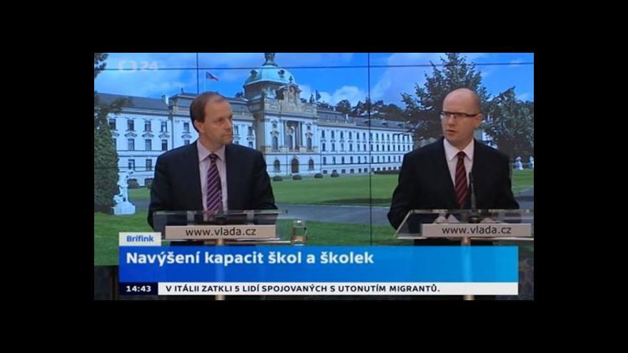 Video TK předsedy vlády ČR a ministra školství, mládeže a tělovýchovy
