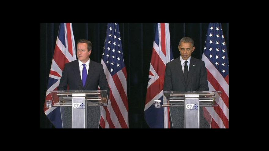 Video Barack Obama a David Cameron po summitu G7