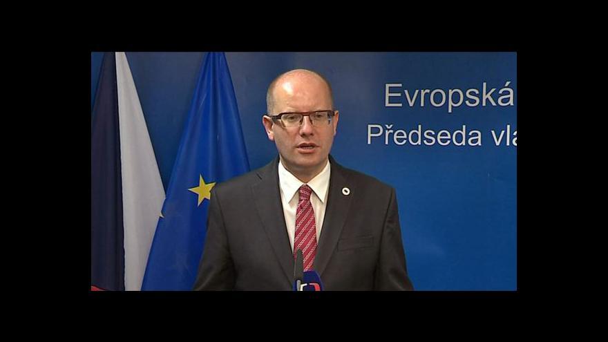 Video Brífink Bohuslava Sobotky po jednání Evropské rady