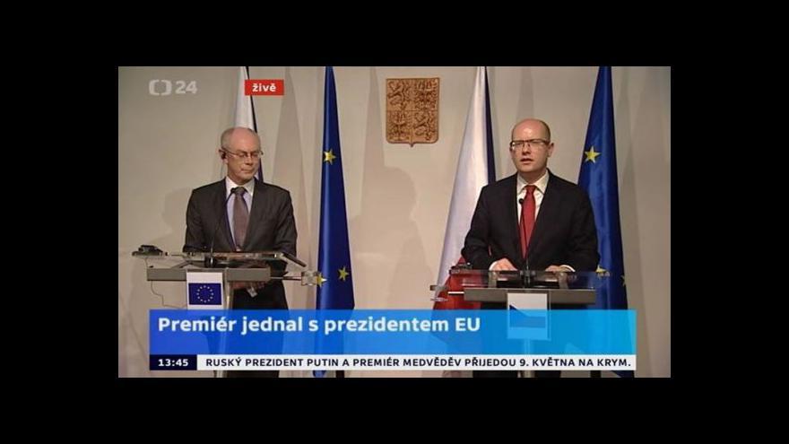Video Sobotka a Van Rompuy: Úkolem EU je energetická bezpečnost