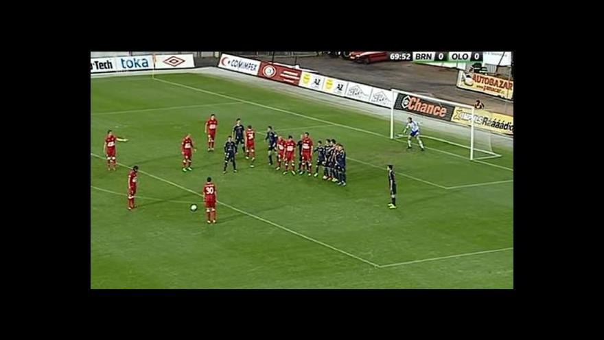 Video Gól v utkání Brno - Olomouc: Zavadil - 1:0 (70. min.)