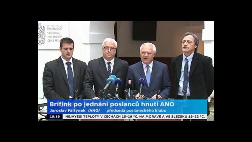 Video Brífink po jednání poslaneckého klubu hnutí ANO