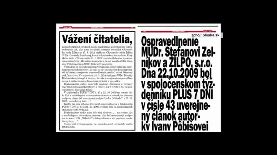 Video Miřejovský: Omluva slovenského týdeníku má 54 stran