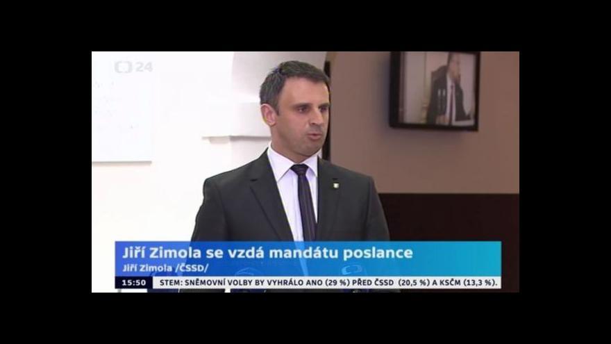 Video Jiří Zimola k setrvání ve funkcích hejtmana a poslance