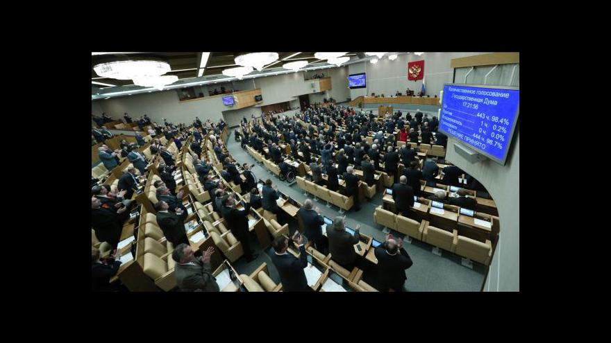 Video Ruská Státní duma ratifikovala smlouvu o připojení Krymu