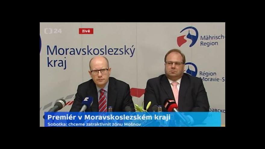 Video Brífink premiéra B. Sobotky a hejtmana MS kraje M. Nováka