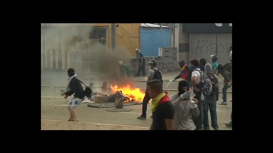 Video Protivládní demonstrace ve Venezuele