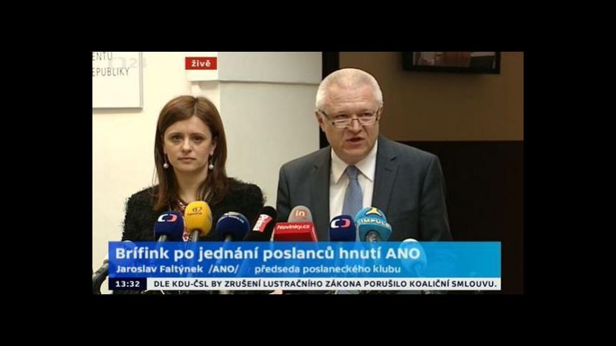 Video Brífink po jednání poslaneckého klubu ANO