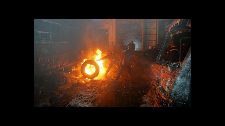 Video Bez komentáře - Srážky demonstrantů s policií v Kyjevě - 21. ledna 2013