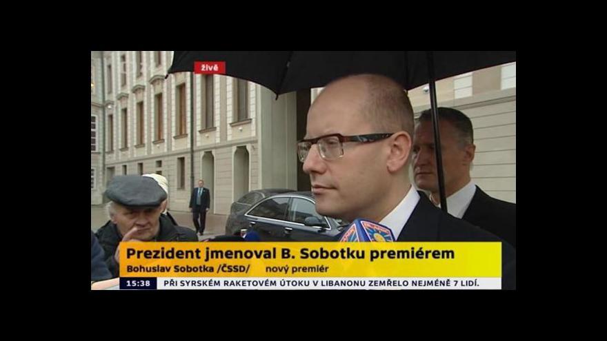 Video Brífink designovaného premiéra Bohuslava Sobotky