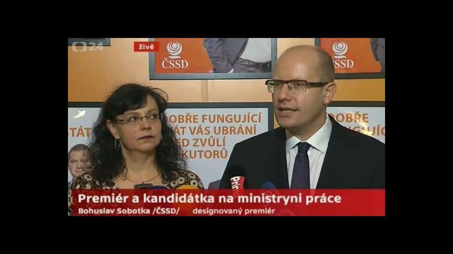 Video Sobotka: Marksová-Tominová bude mít ve vládě těžkou pozici